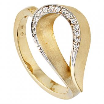Damen Ring 585 Gold Gelbgold bicolor teilmatt 16 Diamanten Brillanten Goldring