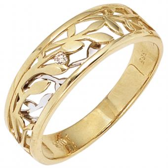 Damen Ring 585 Gold Gelbgold Weißgold bicolor 1 Diamant Brillant 0,02ct.