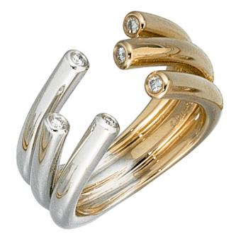 Damen Ring offen 585 Gold Gelbgold Weißgold bicolor 6 Diamanten Brillanten