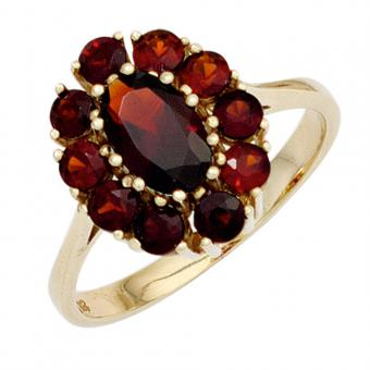 Damen Ring 375 Gold Gelbgold 11 Granate rot Goldring Granatring