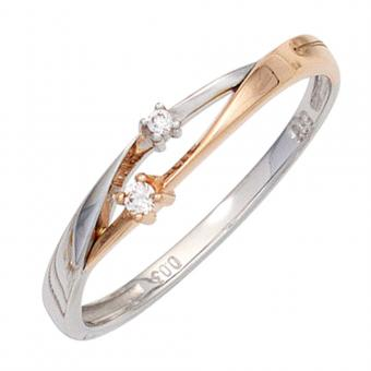 Damen Ring 585 Gold Weißgold Rotgold bicolor 2 Diamanten Brillanten Goldring