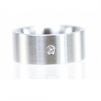 Monomania Ring Edelstahl mit Diamant 0,04 ct RW 52